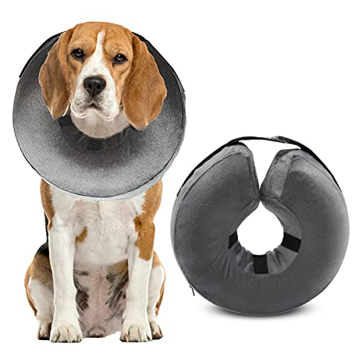 RENZCHU Dog Cone Collar Soft, Protective Inflatable Recovery Cone Collar for After Surgery, Adjustable Pet Recovery E-Collar Cone for Small/Medium/Large Dog Prevent Pets from Touching Stitches - L