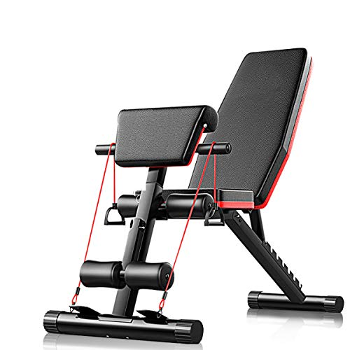 Adjustable Weight Bench, AJUMKER Foldable Sit Up Bench 4 in 1 Home Training Gym Weight Lifting Bench Workout Training Leg Exercise, Flat Incline Decline Multi Use, Black