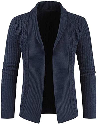 BKWL Mens Slim Fall Winter Solid Knit Open-Front Cardigan Sweater Jumper,Navy Blue,X-Small