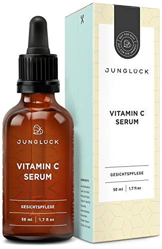 BIO Vitamin C Serum hochdosiert & vegan | Natürliche Inhaltsstoffe | 50 ml Feuchtigkeitspflege für Gesicht und Haut I Junglück Vitamin C Serum | Made in Germany