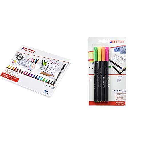 edding 1200 - Estuche de metal con 20 rotuladores, multicolor + 1200NEON4 - Blister con 4 rotuladores, color neón