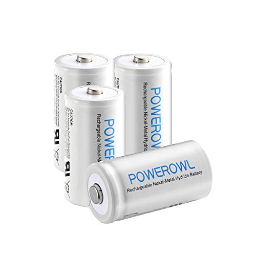 POWEROWL Rechargeable C Batteries Ni-mh C Size Nickle Metal Hydride 5000mah 1.2v Low Self Discharge C Batteries 4 Pack