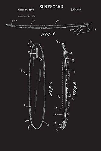 Surfboard: Journal - Vintage Surf Board Blueprint Surfer Log