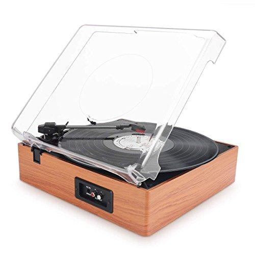 Platine Vinyle 1 BY ONE Tourne Disque Transportable Immitation Bois,3 Vitesses avec Enceinte...