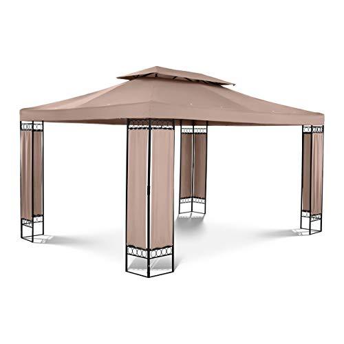 Uniprodo Outdoor Metal Patio Gazebo Square Pavilion Garden Shade 160 g/m² 3x4m Beige UNI_PERGOLA_3X4TF_U (Total Height 2.60m, Powder-Coated Steel Frame, Polyester 160g/m2, UV Protection)