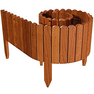 Ksowam Wooden Plug-in Fence Pickets, Flexible Patio Garden Fence No-Dig Picket Fence Decorative Gardening Border for Flower Bed Patio Landscaping Bordering (30)
