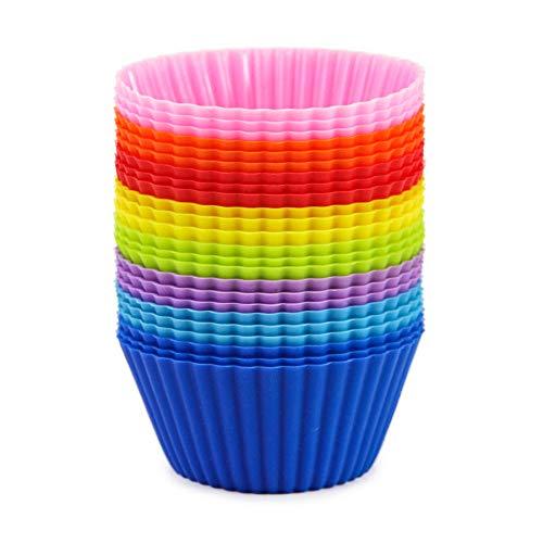 マフィンカップ シリコン 24個セット 8色 ベーキングカップ マフィン型 カップケーキ型 オーブン対応 繰り返し利用可能 (24枚セット)