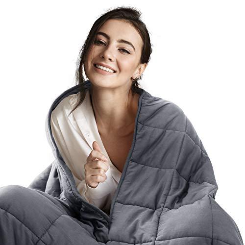 Bedsure Therapiedecke Gewichtsdecke für Erwachsene, beschwerte Decke ca. 7 kg 150x200 cm, Weighted Blanket Adult gegen Angst und Schlafstörungen aus 100% Baumwolle und Glasperlen
