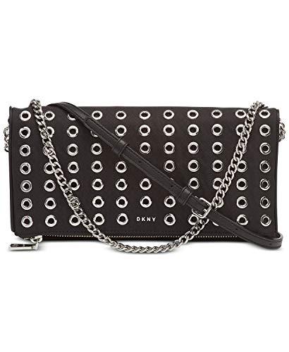 DKNY Women's Grommet Stud Clutch Crossbody Handbag Black