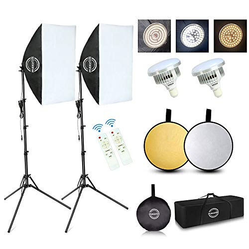 """Maxztill Softbox Lighting Kit, Photography Studio Light with 19""""X27"""" Reflector, 3 Colors Temperature 85W Bulb with Remote, and Light Reflector 2-in-1 for Photo Studio and Take Video"""