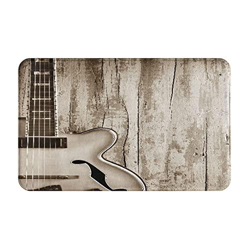 Marutuki Alfombra Decorativa para el Baño,Equipo Musical de Guitarra sobre tableros de Madera rústicos Arte Hippie 3D,Alfombra de Baño Suave Antideslizante Micro Felpa,80 x 49 cm