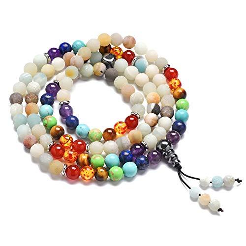 HOMEYU 8mm amazonita Turquesa Lava Roca curativa 108 oración Budista Mala Beads Colgante 7 Chakra Collar Pulsera de Yoga