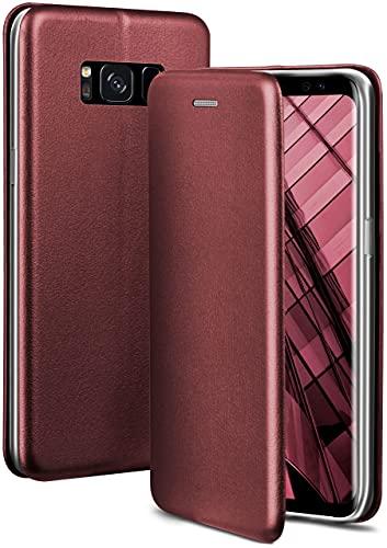 ONEFLOW Handyhülle kompatibel mit Samsung Galaxy S8 - Hülle klappbar, Handytasche mit Kartenfach, Flip Hülle Call Funktion, Leder Optik Klapphülle mit Silikon Bumper, Weinrot