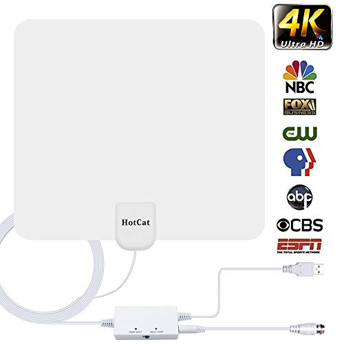 HDTV Antenna,[Newest 2019] Indoor Digital Amplified TV Antennas 120 Miles Range Amplifier Signal Booster for 4K HD 1080P VHF UHF Freeview Local Channels