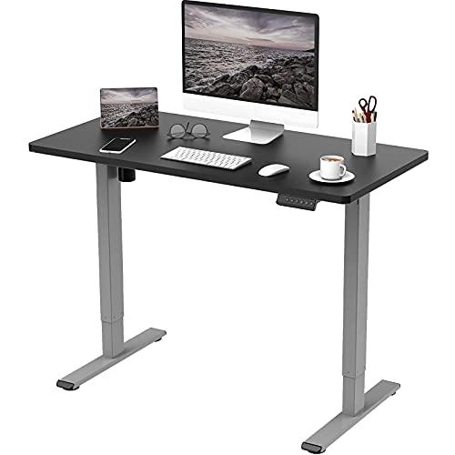 Flexispot E1 Elektrisch Höhenverstellbarer Schreibtisch mit Tischplatte 2-Fach-Teleskop, mit Memory-Steuerung (140 x 70 cm, Grau+Schwarz)