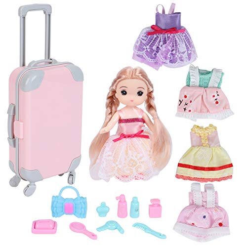 Amazing 16 Pcs American Doll Suitcase Luggage Travel Play Set for Girl 18 Inch Doll Travel Carrier Storage, Including 4 inch Doll, 5 pcs Dresses, Bag, Comb, Hair Dryer, etc