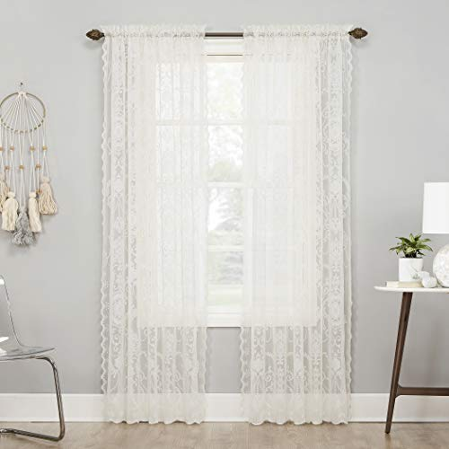 """No. 918 Ariella Floral Lace Rod Pocket Curtain Panel, 58"""" x 63"""", Ivory"""