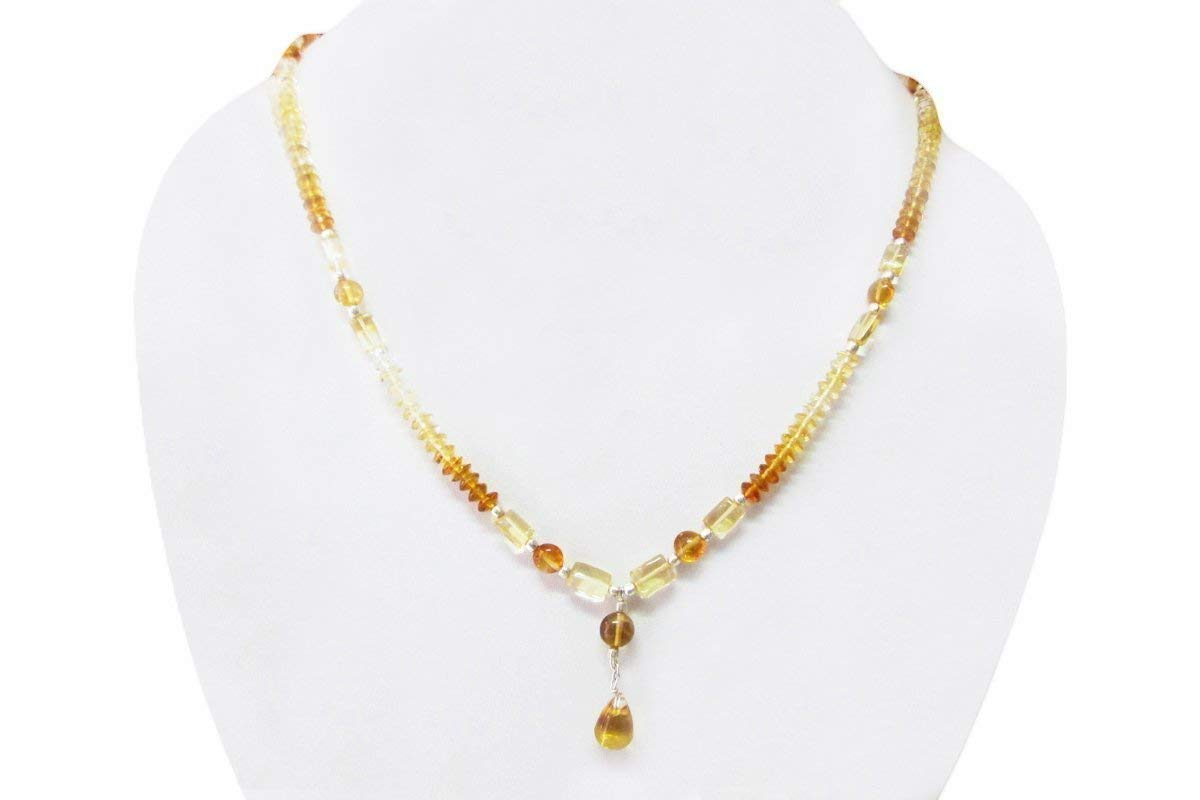 Natural NEW before selling Yellow Citrine Beads Necklace Sterling Strand Today's only with Silve