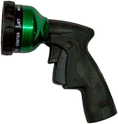 Plastair Spring Nozzle WN-G-4M-AMZ All Metal 9-Pattern Spray Nozzle with Trigger Lock, Green