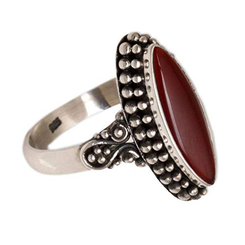 NOVICA Carnelian .925 Sterling Silver Ring 'Fire and Courage'