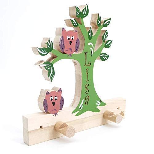Baum mit Eulen Garderobe für Namens Gravur - Name Kinder Holz Geburtsgeschenk, Geburtstagsgeschenk, Weihnachtsgeschenk