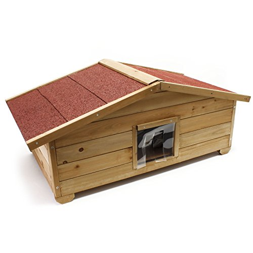 Wiltec Großes Katzenhaus für Garten oder Terasse Katzenhütte Wurfkiste isoliert wetterfest