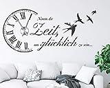 tjapalo s-pkm473 Wanduhr Wandtattoo Uhr spruch Wohnzimmer Wandsticker Spruch - Nimm dir Zeit um Glücklich zu sein mit Uhrwerk und Kristallen