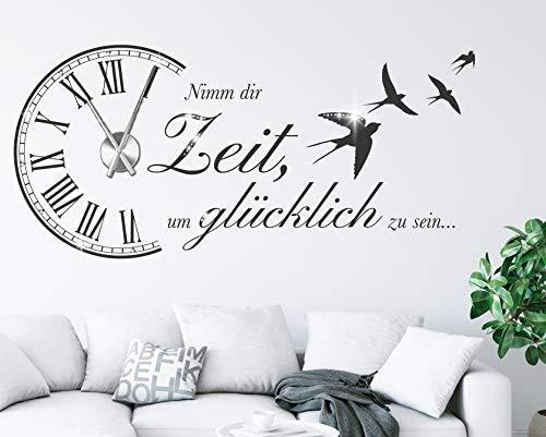 tjapalo® s-pkm473 Wanduhr Wandtattoo Uhr spruch Wohnzimmer Wandsticker Spruch - Nimm dir Zeit um Glücklich zu sein mit Uhrwerk und Kristallen