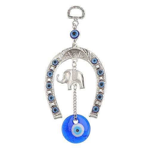 GARNECK Mal de ojo azul turco con colgante decorativo de pared con elefante amuleto de la suerte, adornos colgantes protección y regalo de bendición de la suerte