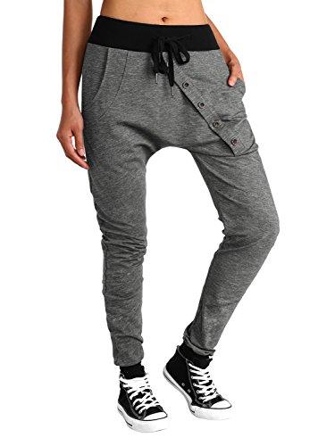 BAISHENGGT Women's Drop Crotch Hip Hop Jogger Harem Pants Medium Dark Grey-2