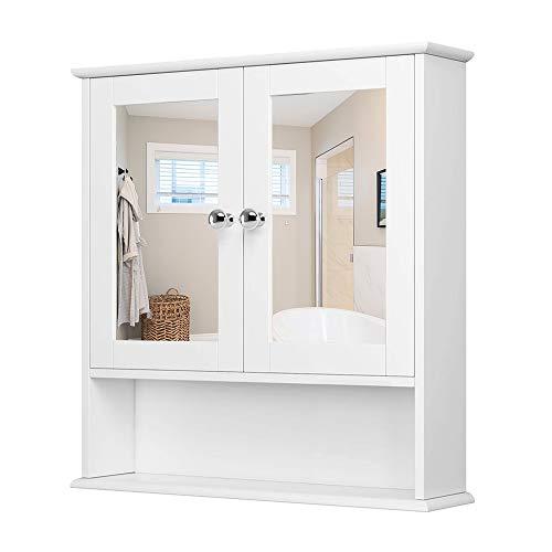 YIFAA Spiegelschrank Badschrank Wandschrank Doppeltür