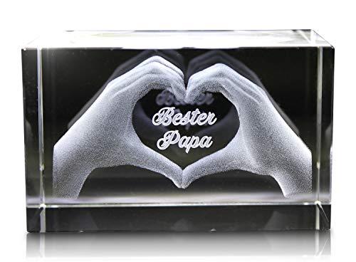 VIP-LASER 3D Glas Kristall mit Gravur I Herz aus zwei Händen I Text: Bester Papa! I Das tolle Geschenk zum Vatertag, Geburtstag oder Weihnachten