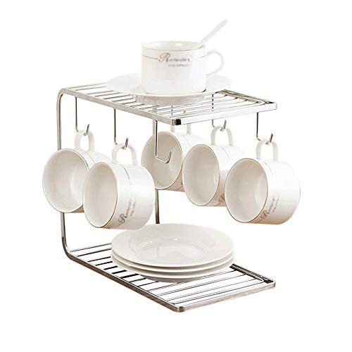 JISHIYU-S Stainless Steel Dish Rack -Rust Proof - Mug Tree Holder Organizer Stand Cup Holder Cup Rack Drain Storage Rack Shelf Kitchen Helper with 6 Hooks for Large Mug