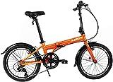 "Zizzo Via 20"" Folding Bike-Lightweight Aluminum Frame Genuine Shimano 7-Speed 26lb (Metallic Orange)"