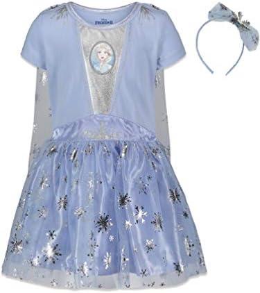 Disney Frozen Elsa Anna Toddler Girls Costume Dress Gown Headband Set 5T Light Blue product image