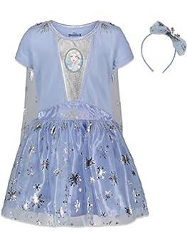 Disney Frozen Elsa Anna Toddler Girls Costume Dress Gown & Headband Set 5T Light Blue