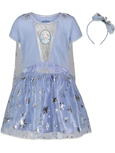 Disney Frozen Elsa Anna Toddler Girls Costume Dress Gown & Headband Set 5T Light Blue