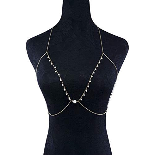Yean Sexy Body Chain mit Perle Strand Quaste Bikini Kette BH Ketten für Frauen und Mädchen (Perle)