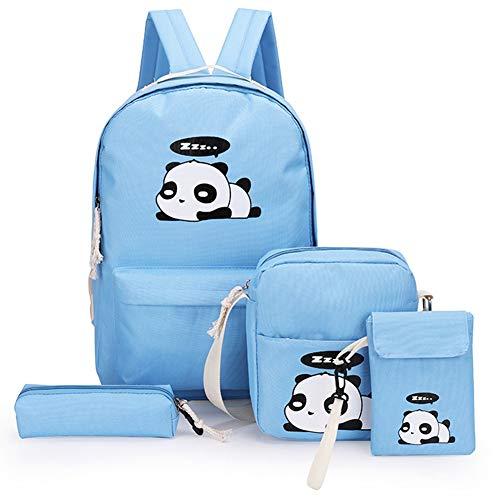 Caradise 4Pcs Cute Panda Backpack Large Capacity Bag Lightweight Casual Canvas School Backpacks for Girls (Blue)