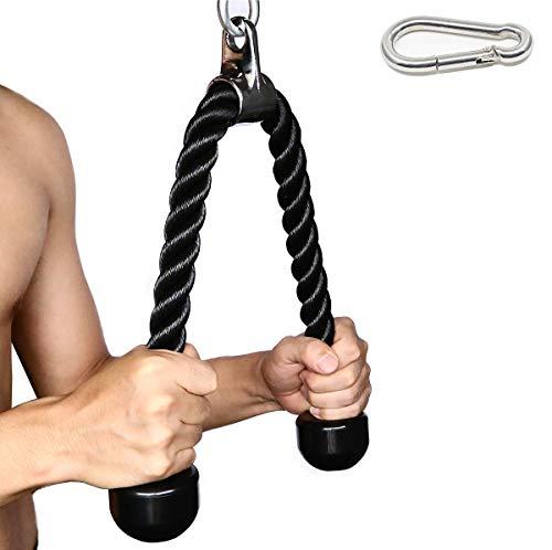 Fitness–Cuerda para Tríceps Cable de acoplamiento máquina cuerda de nailon con revestimiento de resistente con extremos de caucho macizo desplegable 27pulgadas + mosquetón ⭐