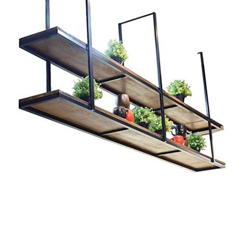 Techo de flores tipo techo retro de madera maciza y estante de pared de hierro colgante Techo de almacenamiento de techo suspendido para restaurante y hogar - Armarios, estantes y estantes