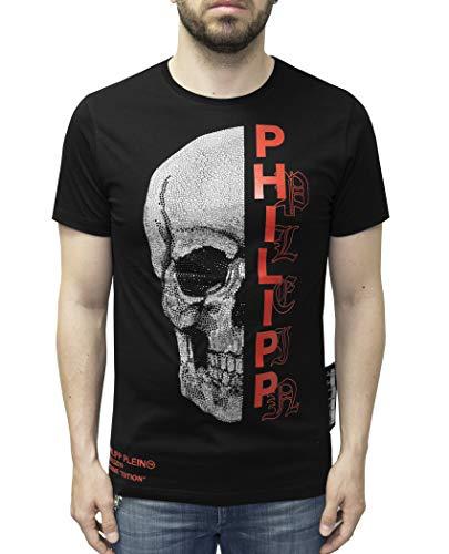 T-Shirt Platinum Cut - Gothic Plein - met Skull Print en Strass steentjes (XXL) Zwart