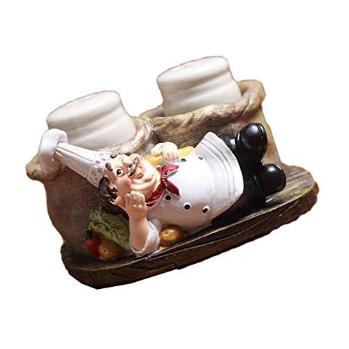 Juegos de salero y pimentero, organizador de especias de estatua decorativa de chef sentado, frascos de vidrio para especias con soporte, figura de regalo para familia, cocina, restaurante - C