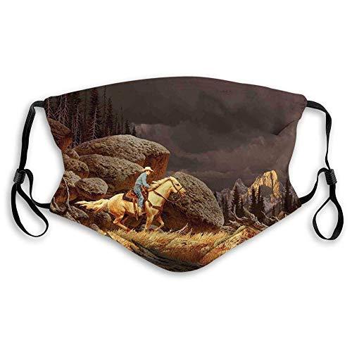 YYTT8 Gesichtsschutz Mundschutz Nasenschutz Wiederverwendbar Waschbar Gesichts Schals Eine Rock Mountain Landschaft mit einem Cowboy Reitpferd Nordamerika