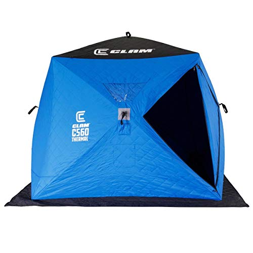 CLAM 14477 C-560 3-4 Person 7.5 Foot Lightweight Portable Pop Up Ice Fishing Angler Thermal Hub Shelter Tent with Anchors, Tie Ropes, and Carrying Bag