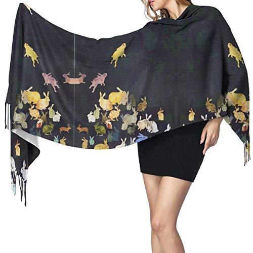 Mujer Cachemira Bufanda De Pashminas Larga Suave y Cálido Chales Estolas Fulares Bufanda Mango De Conejo 77x27 in