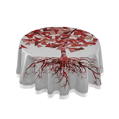 HJHJJ Mantel 60'Pulgada Resumen Árbol estilizado Floración Completa Vector Manteles Redondos para Cubierta de Mesa Circular Mantel de poliéster Protector de Cubierta de Mesa G