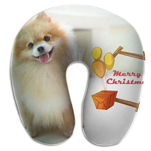 KIENGG Pomeranian Breed Guide U Shaped Neck Pillow Case Memory Foam,Novelty Travel Rest Pillow Pain,Breathable Soft Comfortable Adjustable