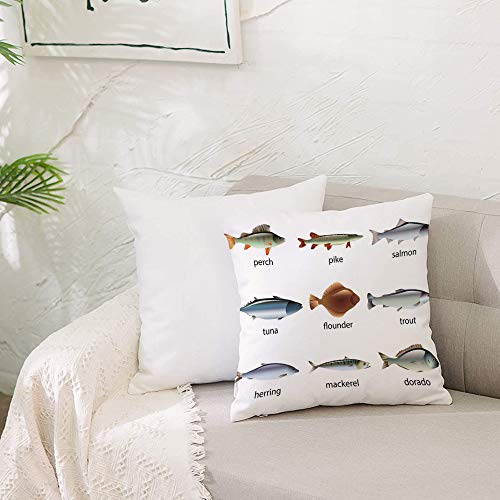 Cushion Covers 20x 20 inch Soft Polyester,Ocean Animal Decor,Group of Fish with Perch Tuna Pike Flounder Mackerel Trout A,Square Throw Pillow Case for Living Room Sofa Couch Bed Pillowcases 50 x 50 cm