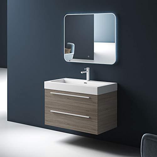 Mai & Mai Conjunto de Mueble de baño diseño Quadratto Color Nogal Incl. 2 Piezas, Lavabo de fundición Mineral, Mueble de 90 cm con 2 cajones